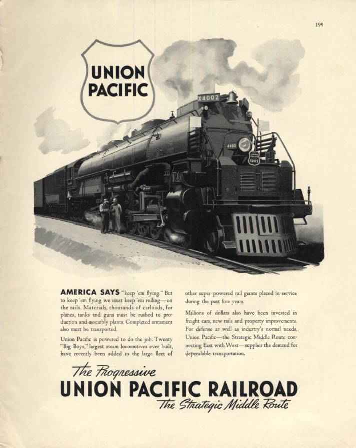 Image for America says Keep 'em Flying - Union Pacific 4-8-8-4 Big Boy 4002 ad 1942 F