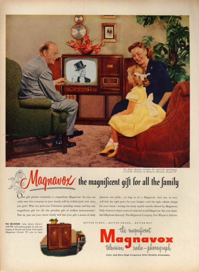 Image for Mr & Mrs Edgar Bergen & Candace for Magnavox Television ad 1951 L