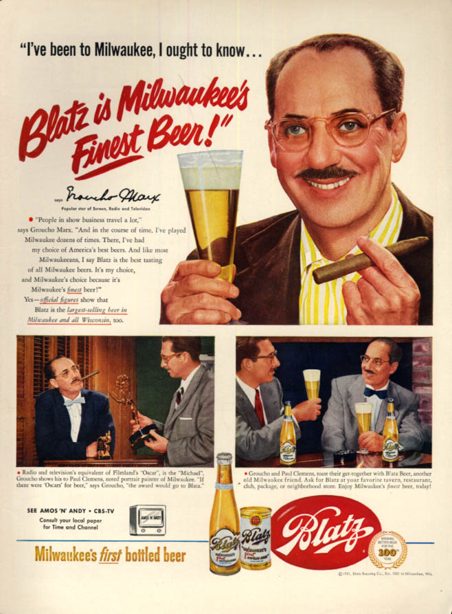Image for Groucho Marx for Blatz Milwaukee Bottled Beer ad 1951 L