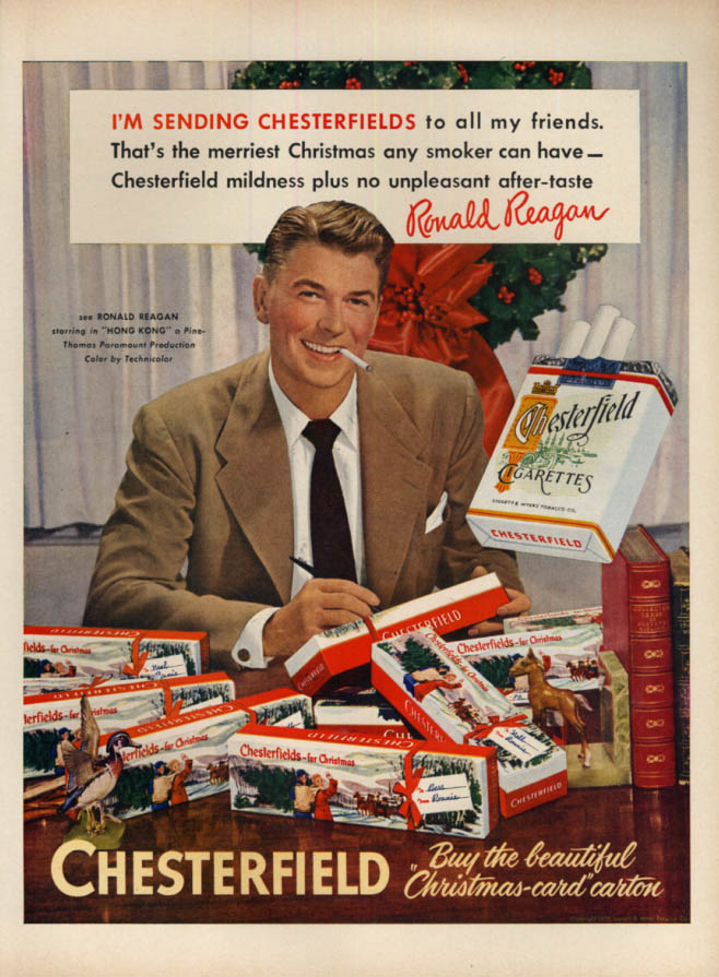Image for Ronald Reagan in Hong Kong for Chesterfield Cigarettes for Christmas ad 1951 L