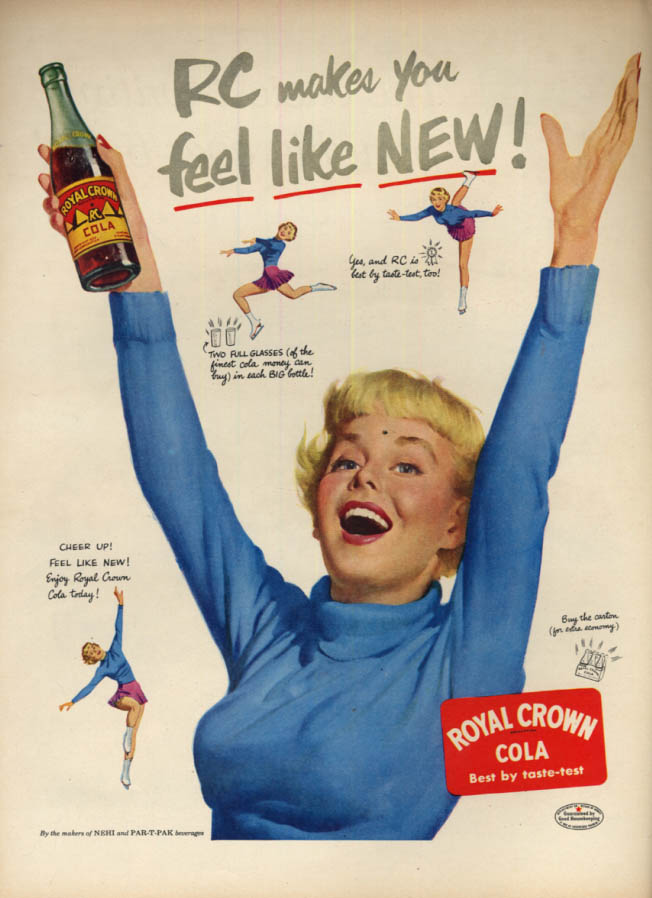 Image for RC Toyal Crown Cola makes me feel like new ad 1951 blonde ice skater L