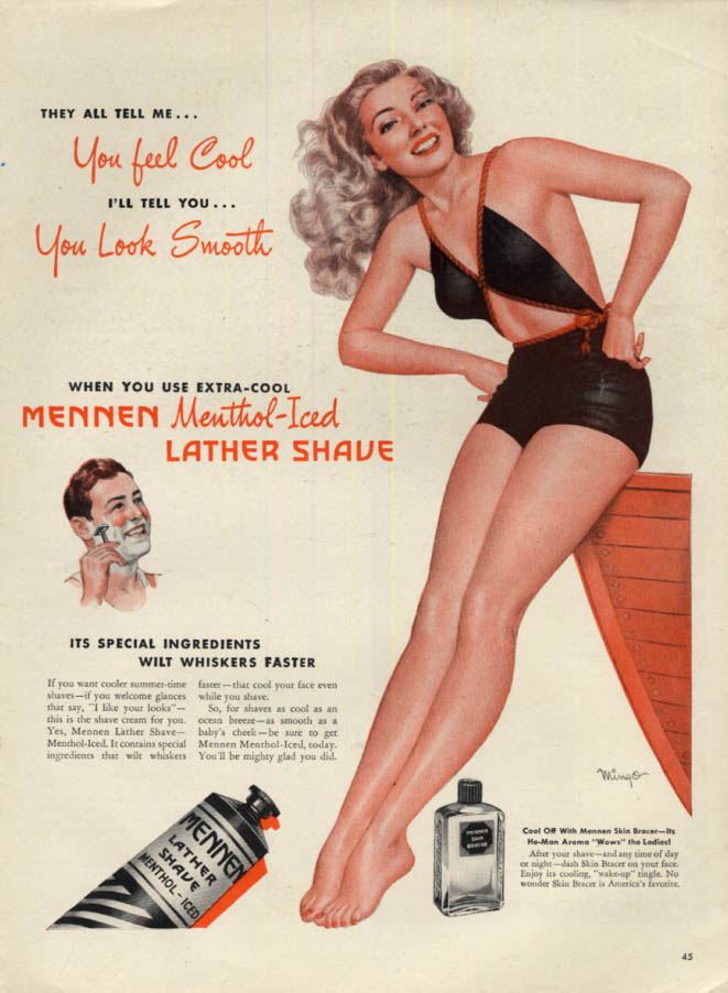 Image for You Feel Cool You Look Smooth Mennen Shave Cream ad 1946 Mingo pin-up L