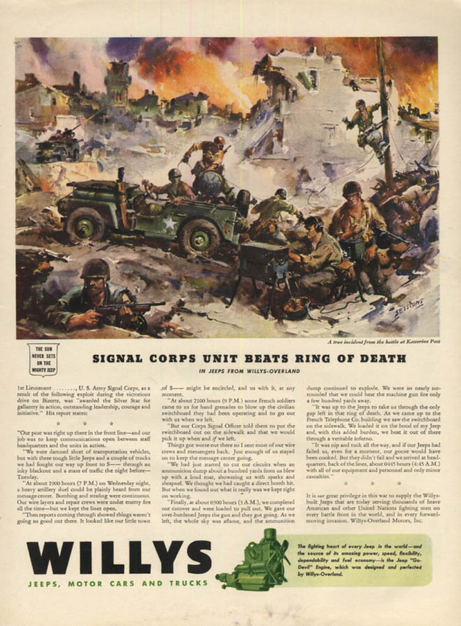 Image for Signal Corps Unit Kasserine Pass Ring of Death Willys Jeep ad 1943 L