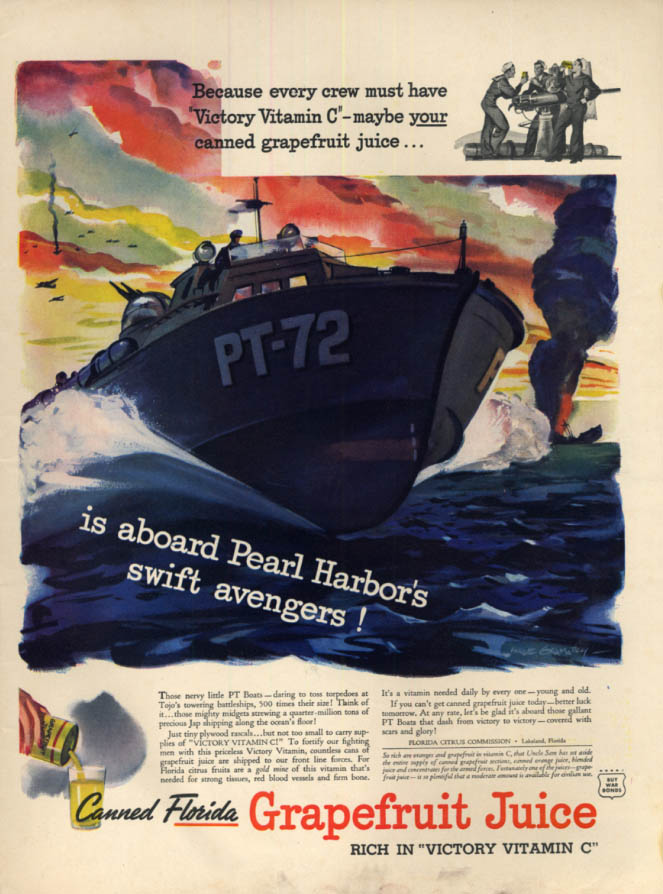 Image for Florida Grapefruit Juice aboard Pearl Harbor Avengers PT-Boat PT-72 ad 1943 L