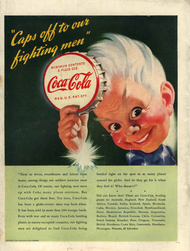 Image for Caps off to our fighting men Coke Boy Coca-Cola ad 1943 L