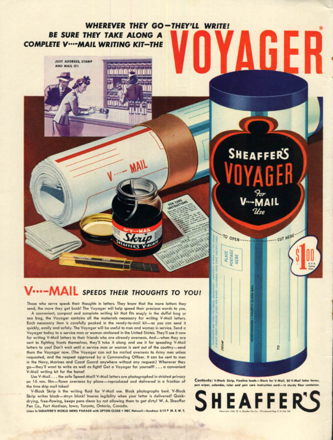 Image for Speed their thoughts to you Sheaffer's Voyager V-Mail Kit for servicemen ad 1943