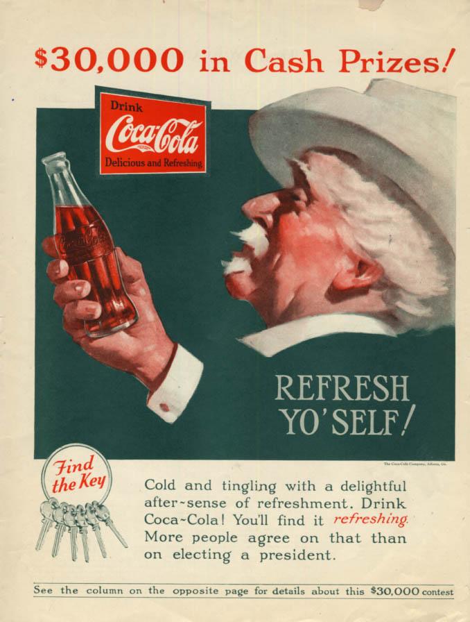 Image for $30,000 in Cash Prizes! Refresh Yo'Self Coca-Cola ad 1927 Col