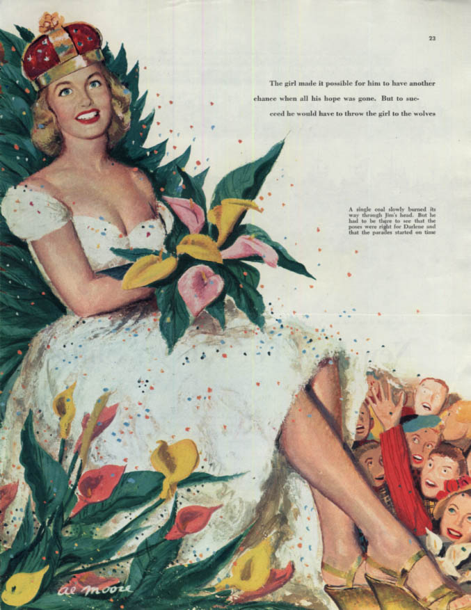 Image for Parade queen with crown & cleavage magazine illustration page by Al Moore 1949