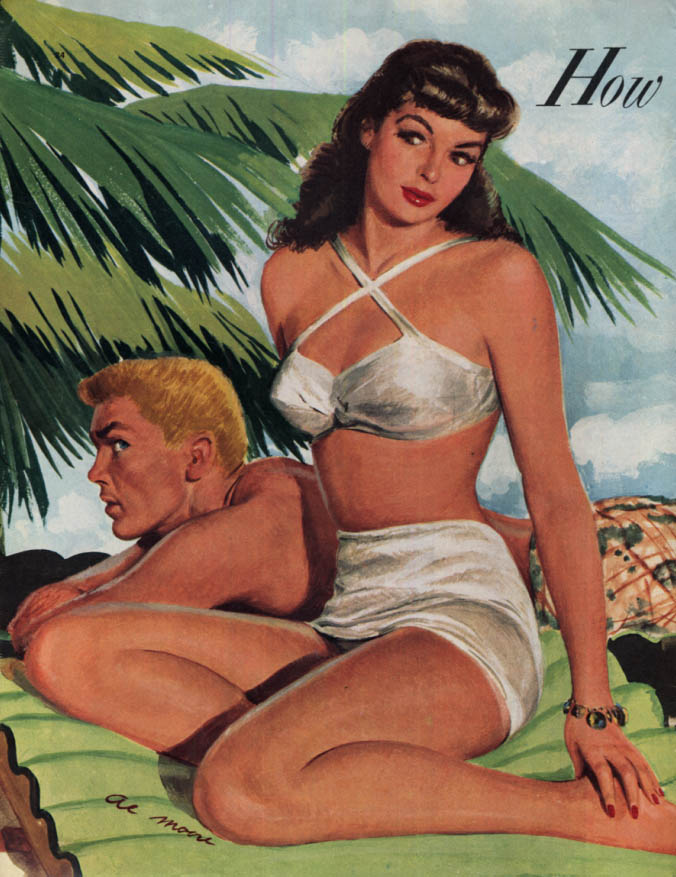 Image for Brunette in 2-piece swimsuit on the beach magazine illustration by Al Moore 1949