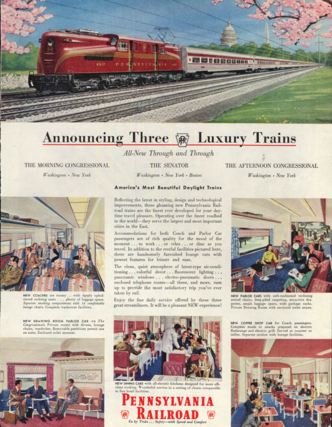 Image for Announcing 3 Luxury Trains Pennsylvania Railroad GG-1 4912 ad 1952 SEP