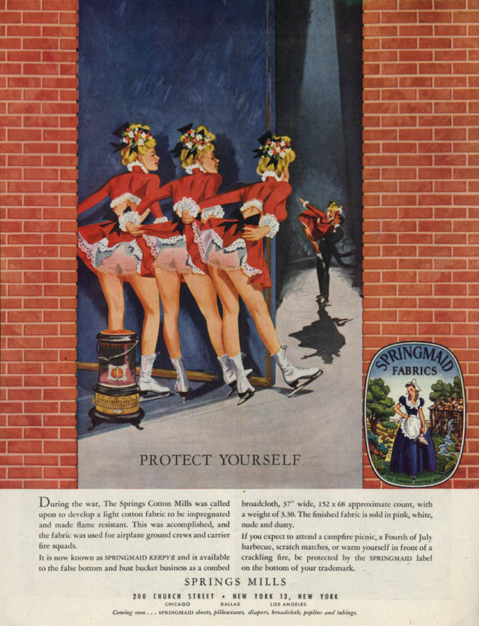 Image for Protect Yourself. Springmaid Fabrics panties ad 1948 H girl iceskaters pin-up