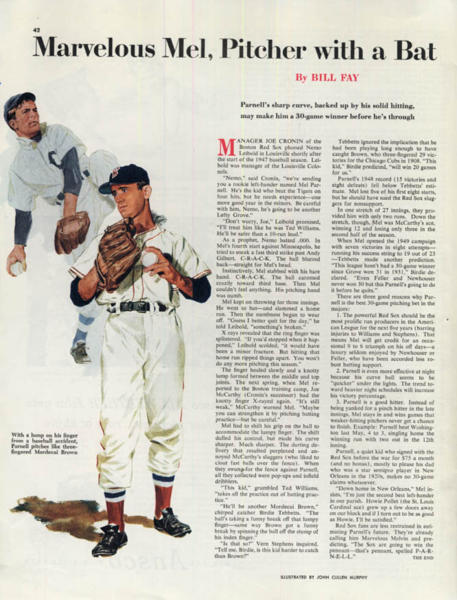 Image for Marvelous Mel Parnell Red Sox pitcher Collier's magazine page 1949