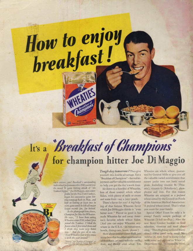 Image for How to enjoy breakfast! Joe Di Maggio for Wheaties Cereal ad 1941 SEP