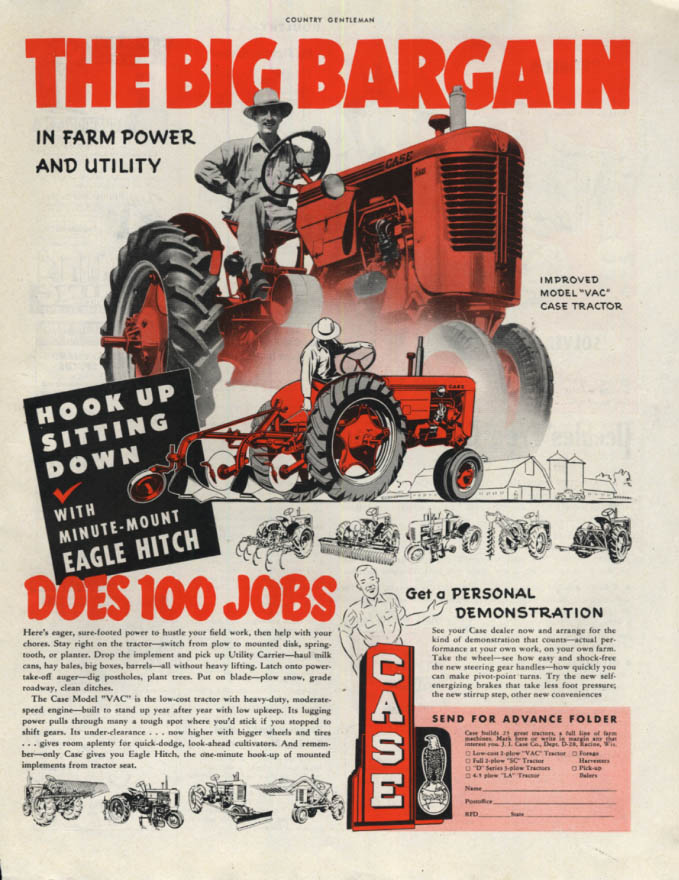 Image for The Big Bargain in Farm Power Case Vac Tractor ad 1952 CG