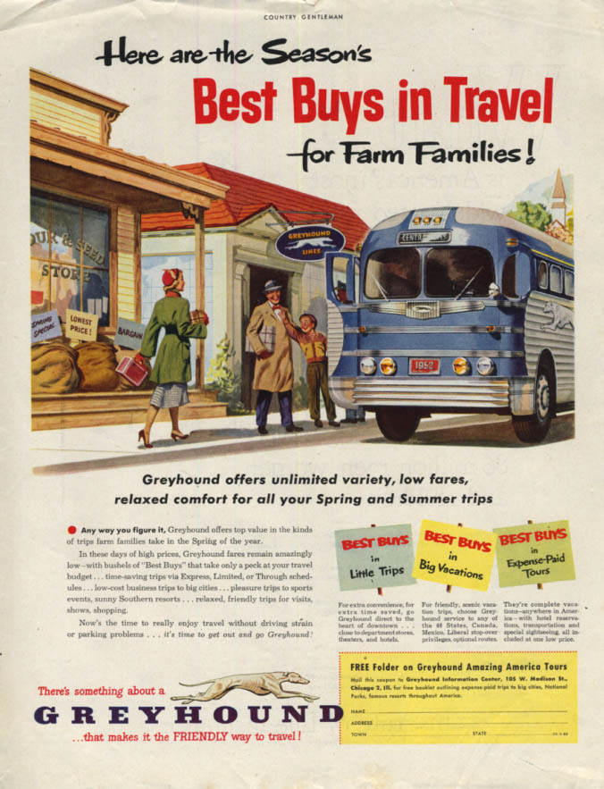 Image for The Season's Best Buys in Travel for Farm Families Greyhound Bus ad 1952 CG