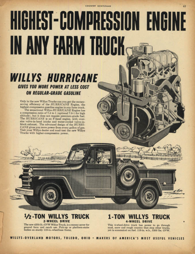 Image for Highest-Compression Engine in any Farm Truck Willys Jeep Truck ad 1950 CG