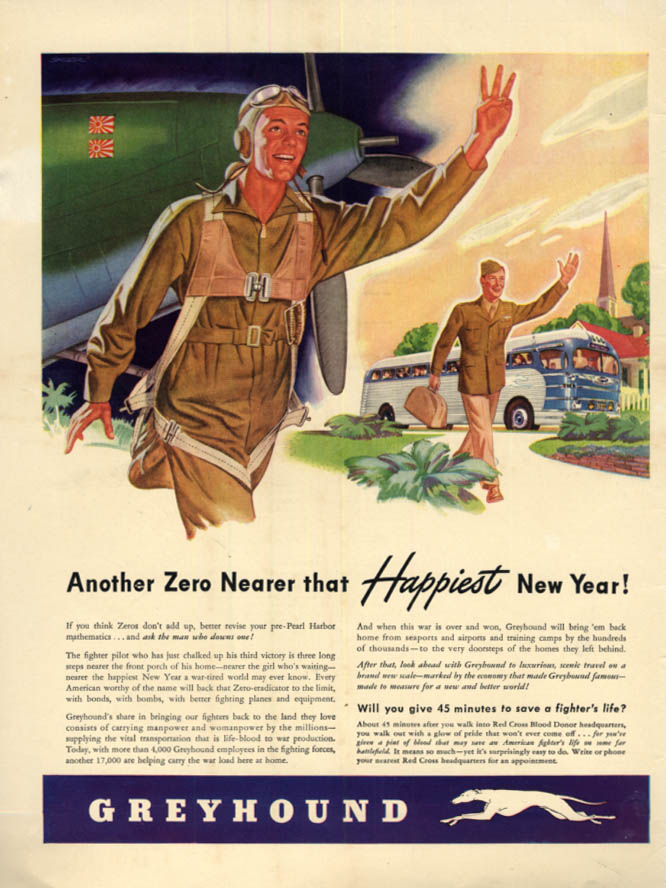 Image for Another Jap Zero Nearer that Happiest New Year Greyhound Bus ad 1943 L