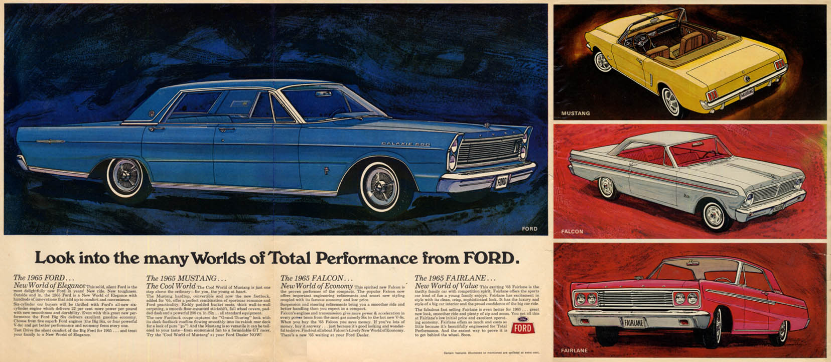 Image for Total Performance from Ford Galaxie 500 Mustang Falcon Fairlane ad 1965 Canada
