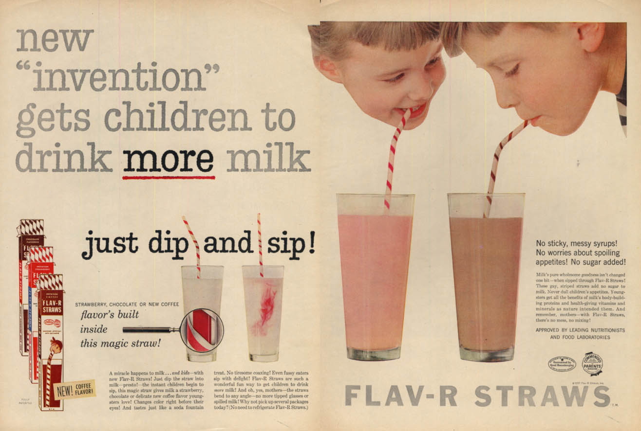 Image for New invention gets children to drink more milk Flav-R Straws ad 1956