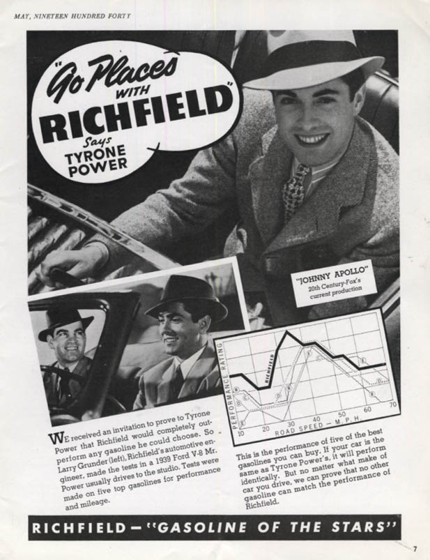 Image for Tyrone Power says Go Places with Richfield Gasoline ad 1940