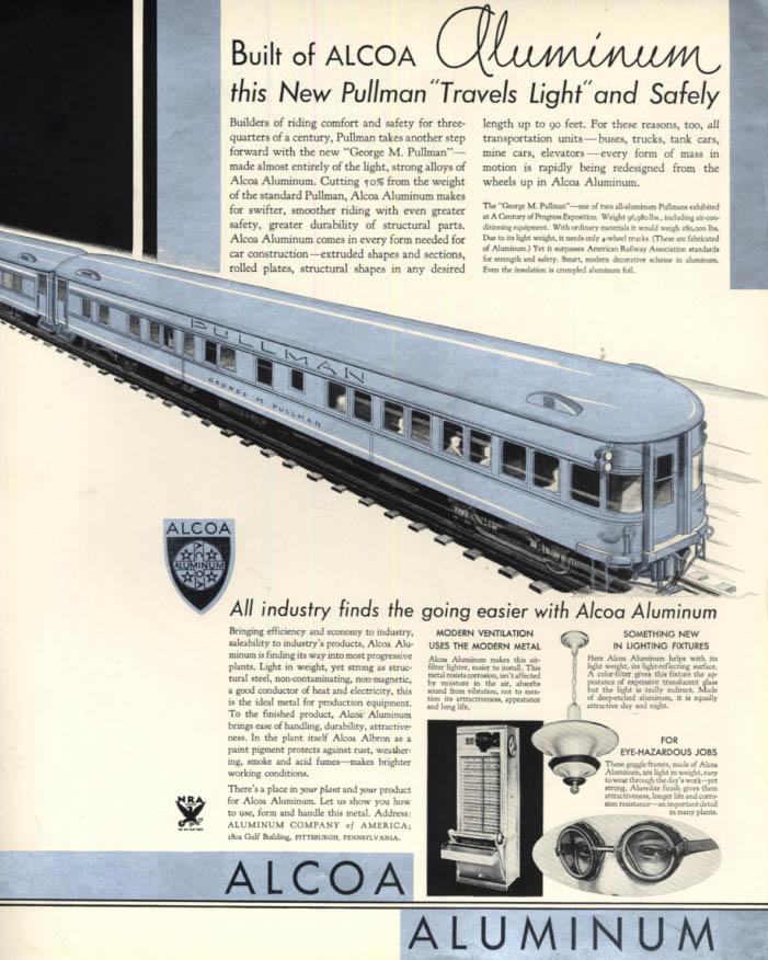 Image for George M Pullman railroad coach of Alcoa Aluminum ad 1933 Century of Progress F