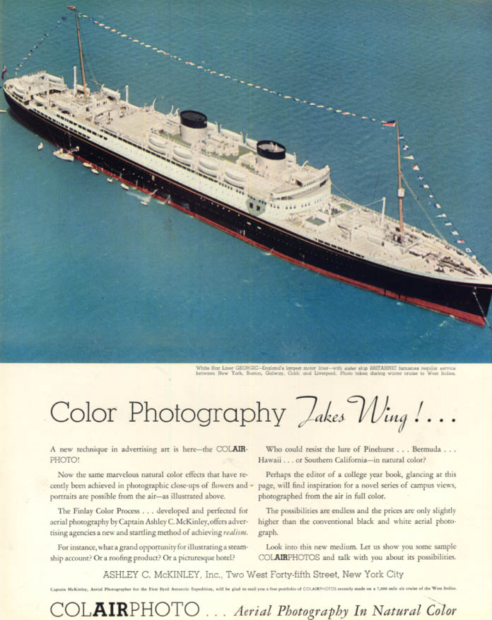 Image for White Star R M S Georgic in Ashley C McKinley Colairphoto ad 1933 F