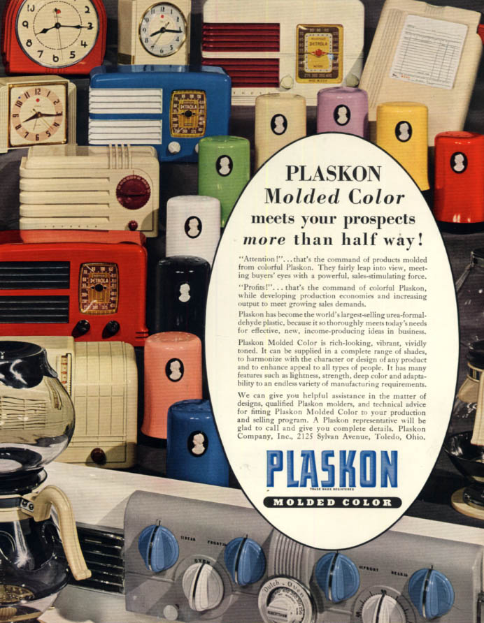 Image for Plaskon Molded Color meets your prospects ad 1940 Detriola Radio etc F