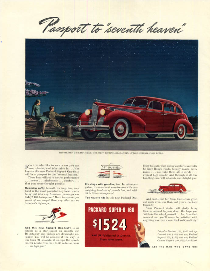 Image for Passport to seventh heaven Packard Super-8 One-Sixty Sedan ad 1940 F