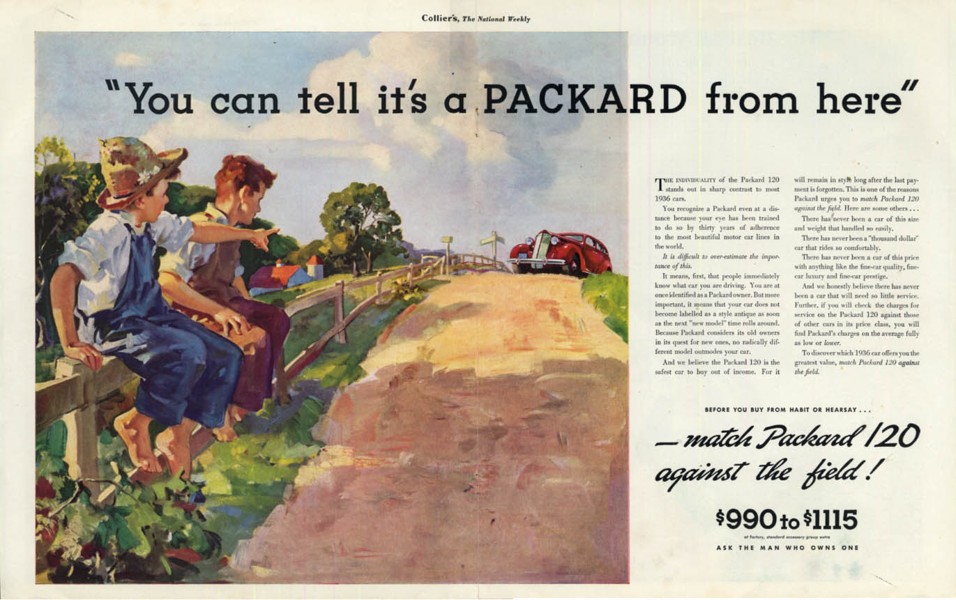 Image for You can tell it's a Packard 120 from here! Ad 1936 Col