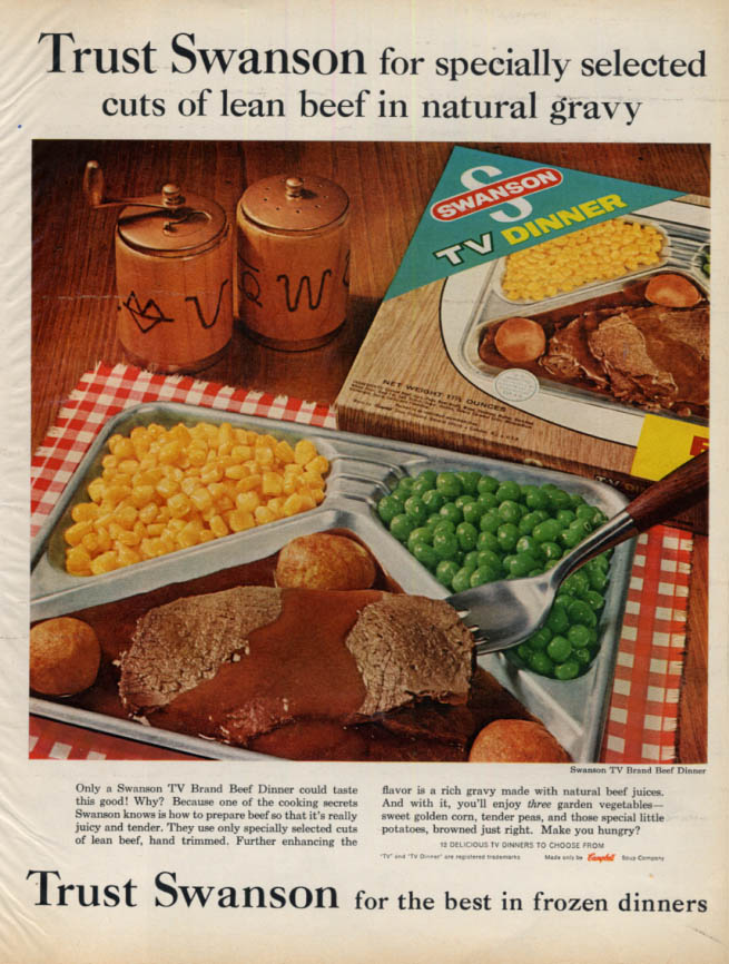 Image for Specially selected lean beef in natural gravy Swanson TV Dinner ad 1962 L
