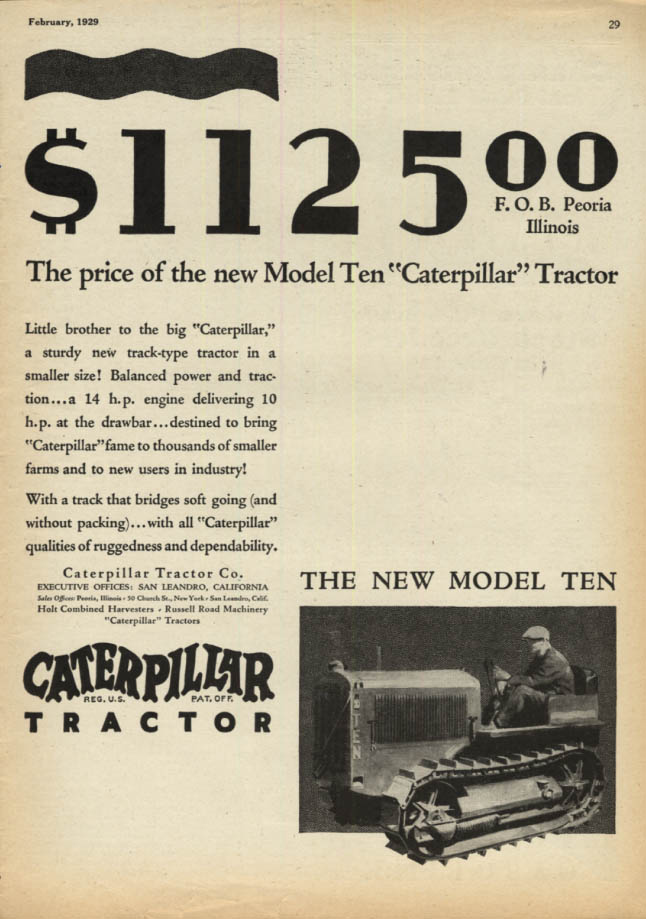 Image for $1125: The price of the new Model Ten Caterpillar Tractor ad 1929