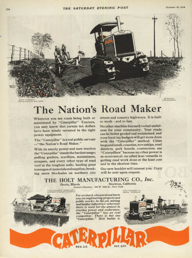 Image for The Nation's Road Maker - Holt Caterpillar tractor ad 1924 SEP