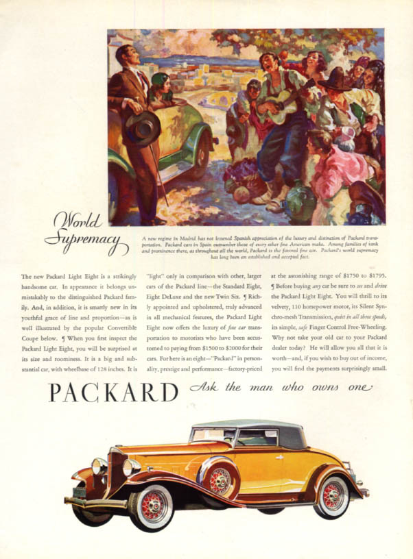 Image for A strikingly handsome car Packard Light Eight Convertible Coupe ad 1932 H&G