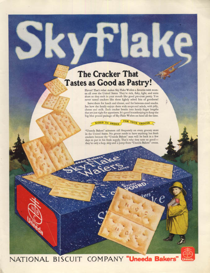 Image for The Cracker That Tastes as Good as Pastry! Sky Flake Wafers Nabisco ad 1934 LHJ