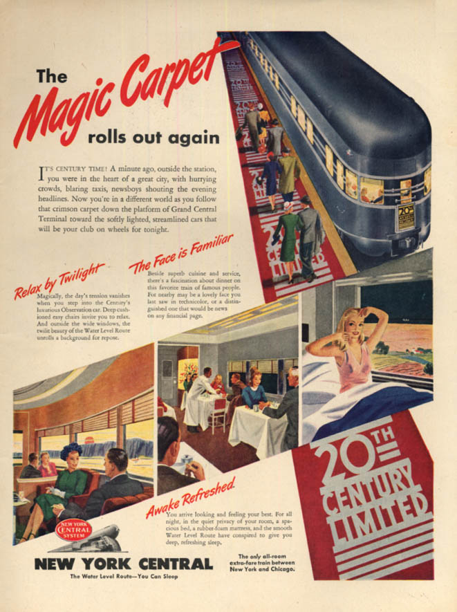 Image for The Magic Carpet rolls again New York Central 20th Century Limited ad 1946 L