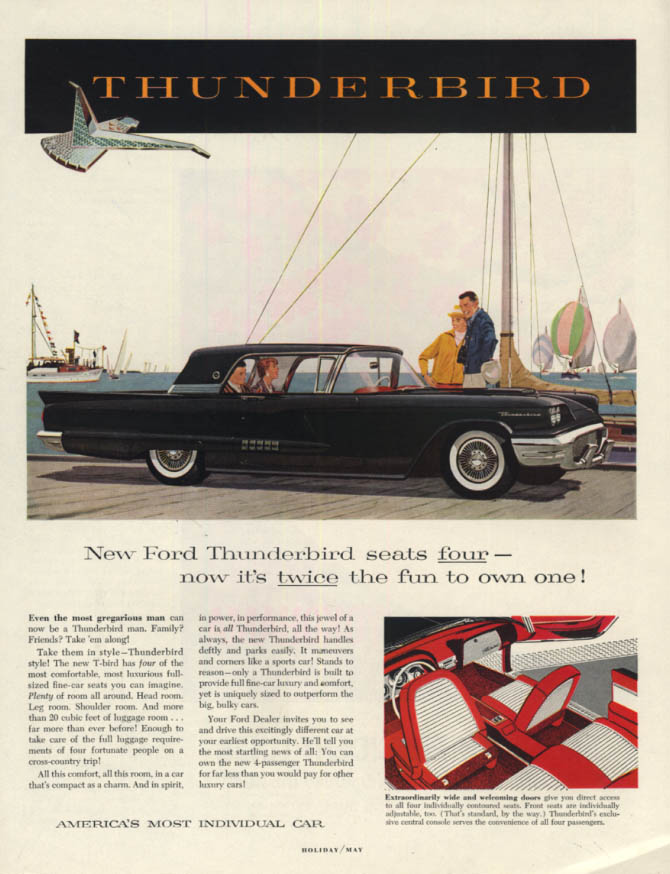 Image for Twice the fun to own one Ford Thunderbird Hardtop ad 1958 H