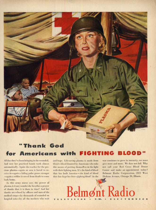 Image for Thank God for Americans with Fighting Blood WAC Nurse Belmont Radio ad 1944 L