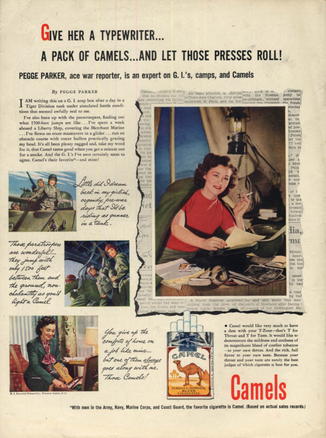 Image for Pegge Parker Ace Reporter for Camel Cigarettes ad 1944 L