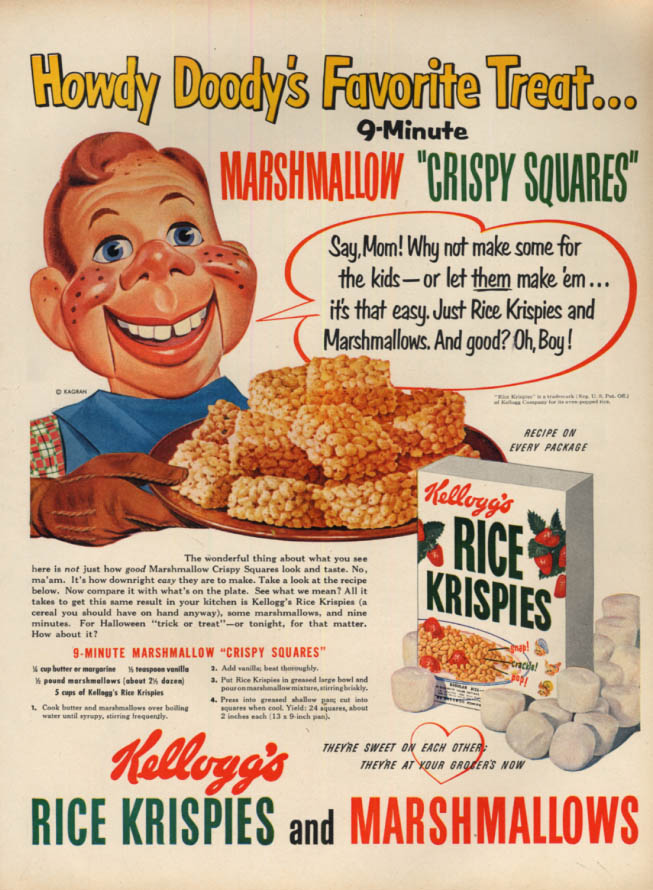 Image for Howdy Doody's Favorite Kellogg's Rice Krispies Marshmallow Squares ad 1951 L