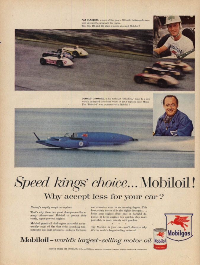 Image for Racers Pat Flaherty & Donald Campbell Mobiloil Mobilgas ad 1956 L