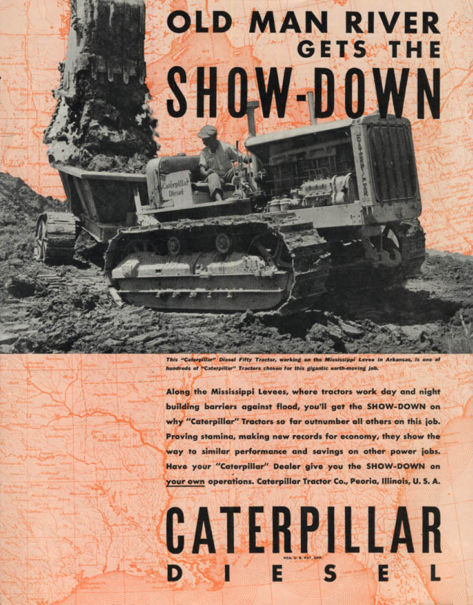 Image for Old Man River gets the Show-Down - Caterpillar Diesel Tractor ad 1935 SEP