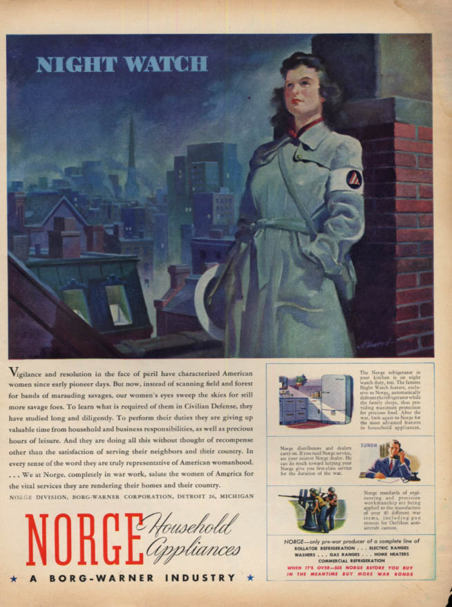 Image for Night Watch: Woman Civil Defense worker Norge Household Appliances ad 1943