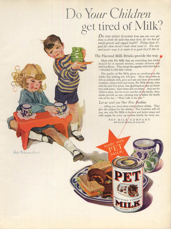 Image for Do Your Children get tired of Milk? Pet Milk ad 1929 Lucille Patterson Marsh