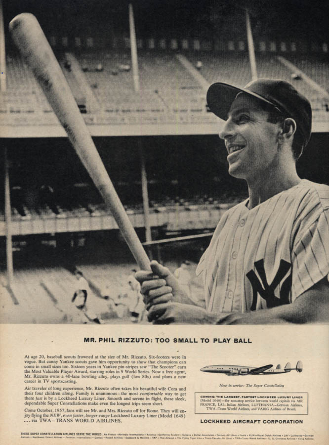 Image for New York Yankees Phil Rizzuto for Lockheed Constellation ad 1956 L