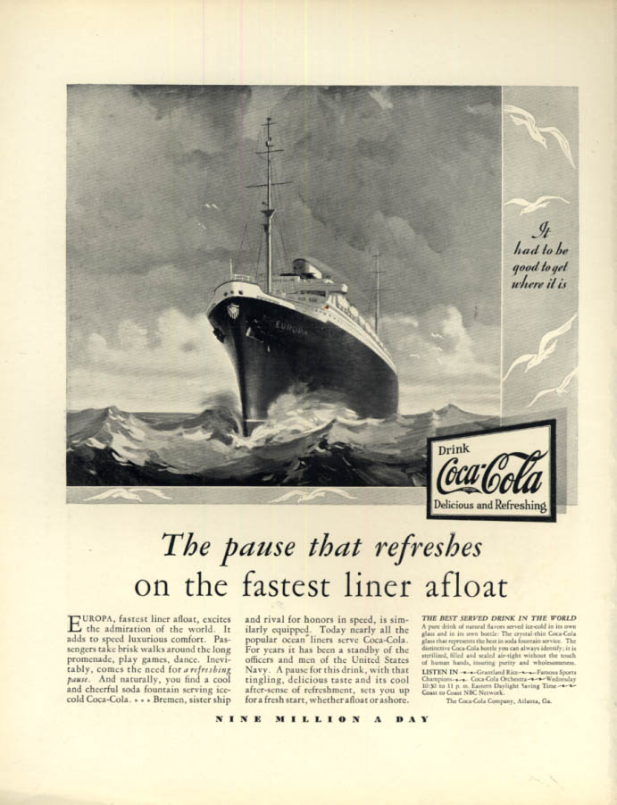 Image for The Pause that Refreshes on fastest liner S S Bremen Coca-Cola ad 1930 F