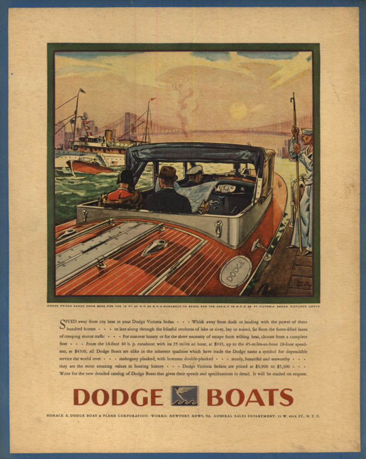 Image for Speed away from city heat in your Dodge Victoria Sedan speedboat ad 1930 F