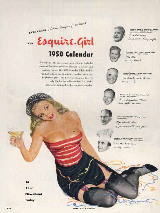 Image for Everybody cheers the 1950 Esquire Girl pin-up Calendar ad by Al Moore