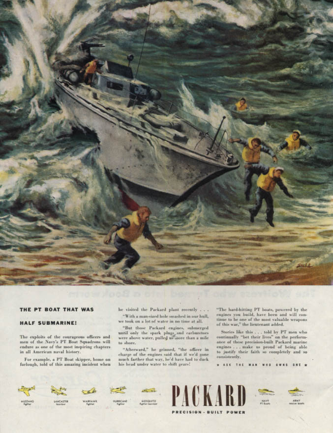 Image for The PT Boat that was Half Submarine - Packard ad 1945 P art by Stahl