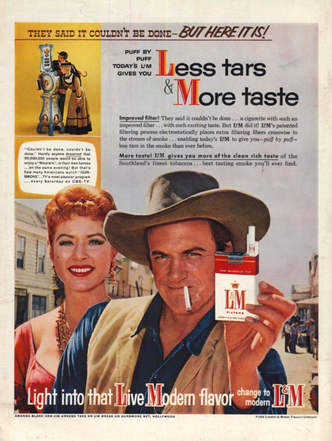 Image for Less tars & More Taste L&M Cigarettes ad 1958 Jim Arness Amanda Blake Gunsmoke