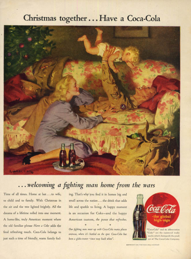 Image for Christmas together Coca-Cola ad 1945 Airborne corporal by Sundblom L